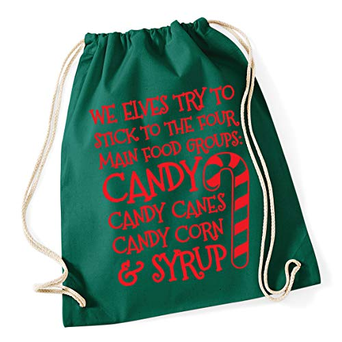 Hippowarehouse We elves try to stick to the four main food groups: candy, candy canes, candy corn, and syrup Drawstring Cotton School Gym Bag 37cm x 46cm, 12 litres
