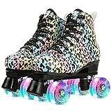 Milky Way Patines para mujer de alta parte superior Leopard Roller Patines de cuatro ruedas de doble fila brillante para principiantes, adultos, interiores y exteriores (rueda intermitente, 37)