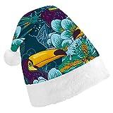 Hangdachang Tropical con Flores exóticas y Sombrero navideño de tucán para Celebraciones Festivas de Disfraces, Regalos de Invierno, Decoraciones navideñas M