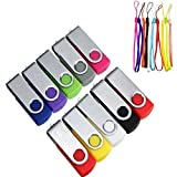 Memoria USB 8GB Pendrive 10 Piezas Colores, Memoria USB Flash Práctico Pen Drive USB 2.0 Memoria Externo Stick Giratorio Llave Almacenamiento de Datos Multicolor con Cuerdas