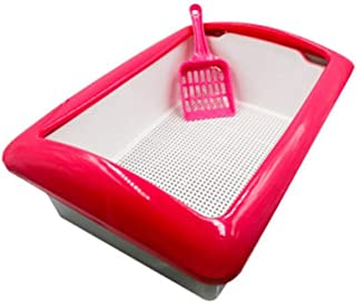 猫用トイレ本体 スクープ付きスクエアシェイプクラシックダブルレイヤーキャットリタートレイ 適当な容量、快適に使える (色 : ピンク, サイズ : 30*43*12cm)
