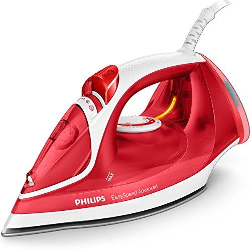 Philips EasySpeed Advanced gc2672/40Ferro da stiro a vapore, 2300W, 35g/min vapore continuo, Serbatoio di acqua da 300ml, suola ceramica, colore: rosso