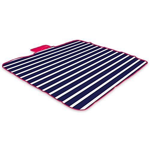 Yello Fleece faltbar Outdoor Picknickdecke Wasserdichte Unterseite–Blau gestreift