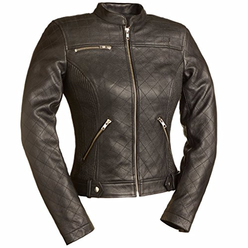 First MFG Co. - Queen of Diamonds - Women's Motorcycle Leather Jacket (Black, Large)