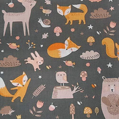 Werthers Stoffe Tela por metros para niños, color gris, animales en el bosque, zorro, conejo, nostálgico, tela decorativa para cortinas, dosel de cama, moutard cool
