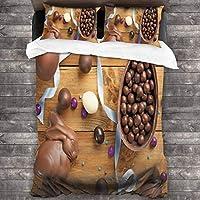 ROSECNY 布団カバー シングル4点セット,木製のテーブルに卵のリボンとおいしいチョコレート休日の準備,枕カバー 掛け布団カバーあったか おしゃれ かわいい柔らかい肌に優しい