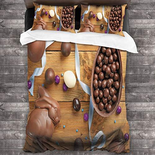 BEITUOLA Juego de Funda nórdica,Delicioso Chocolate con Cinta de Huevos sobre una Mesa de Madera Preparación de Vacaciones,1 Funda de Edredón y 2 Fundas de Almohada 240 x 260cm