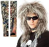 70s 80's Mens Rocker Wig + Tattoos Costume Set. Glam Hairband Rockstar Mullet Wig + Tattoo Sleeves Heavy Metal Wigs