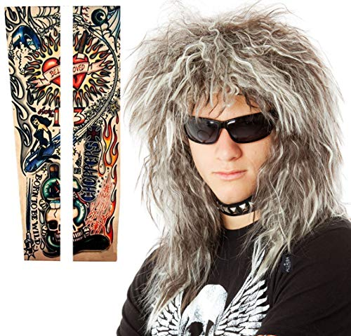 80s Hair Metal Wig with Tattoo Sleeves