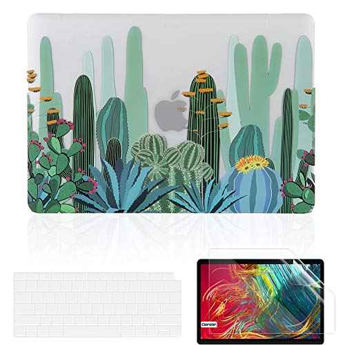 iDonzon MacBook Air 13 inch Case Set (A2179/A1932, 2020 2019 2018 Release), Matte Clear Hard Cover&Keyboard Cover&Screen Protector Compatible with Mac Air 13.3 inch Retina Display Touch ID - Cactus