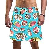 Pantalones cortos de playa para hombre, de secado rápido, con bolsillo y platos asiáticos con camarones Sashimi y mariscos