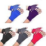 5 Pairs Non Slip Yoga Gloves, Fingerless Yoga Gloves Exercise Gloves Workout Gloves for Women, 5 Colors