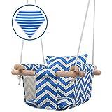 MIMIEYES Ensemble de siège en Toile de balançoire pour bébé en Bois avec Coussins, hamac de Chaise Suspendue intérieure pour Enfants à la Main - Rayure Bleue