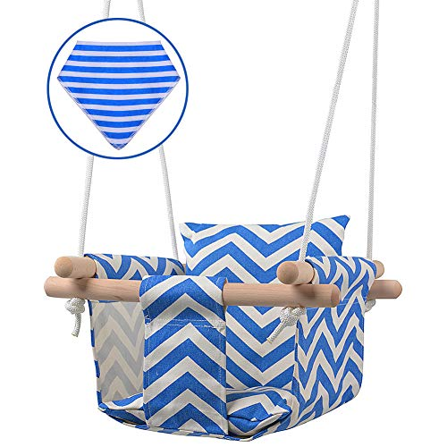 MIMIEYES Wooden Baby Swing Canvas Seat Set with Cushions, Handmade Kids Indoor Outdoor Hanging Chair Hammock, Comfortable Toddler Seat Nursery Decor … (Azul)