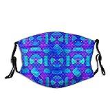 Protector bucal azul colorido, acuarela, formas geométricas, pasamontañas onduladas, decoración de la cara, protector facial con 2 filtros