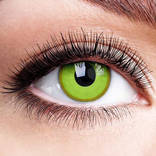 Farbige Kontaktlinsen mit Stärke Avatar Monatslinsen Motiv Linsen Halloween Karneval Fasching Cosplay Crazy Gelbe Auge Motivlinsen Gelb -4,5 dpt
