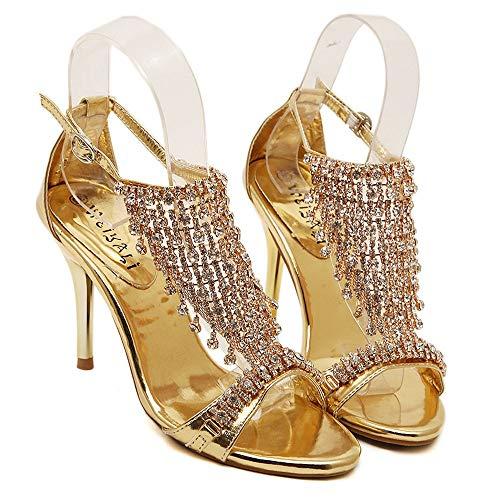 Sandalias de tacón alto para mujer para mujer con plataforma de diamantes de imitación Fiesta de trabajo Noche de baile Boda Nupcial Zapatos de corte sexy Bombas