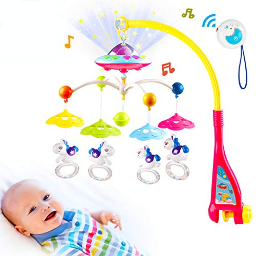 Mini Tudou Crib Mobile Baby Crib Musical Mobile Crib Holder with Light Remote Control Best Gift for 3 Months and Up Boys Girls …