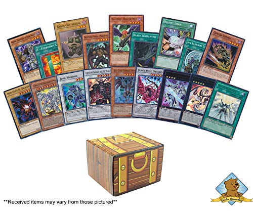 100 Yugioh Card Lot - Featuring 20 Random Yugioh Holo Rares! Includes Golden Groundhog Treasure Chest Storage Box!