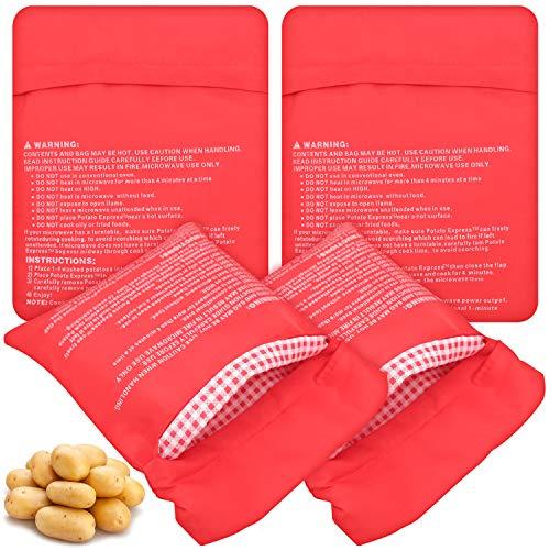 JJQHYC 4 bolsas para patatas y cocina, reutilizables, para microondas, para hacer patatas esponjosas en pocos minutos