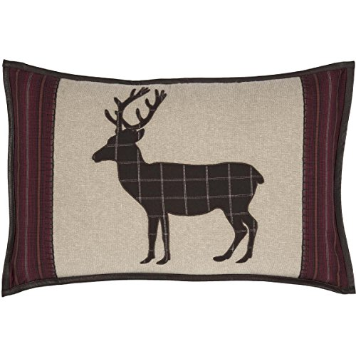 VHC Brands Rustic Wyatt Deer Cotton Appliqued Chambray Nature Print Rectangle Cover Pillow Insert Bedding Accessory, 14x22, Plaid Tan