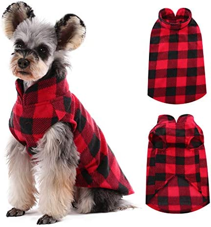 Kuoser Stretch Dog Fleece Vest Soft Classic Plaid Basic Dog Sweater for Small Dogs Cats Warm product image