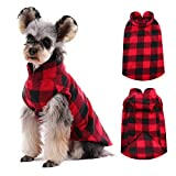 Kuoser Dog Classic Plaid Fleece Coat, Soft Dog Sweater Warm Pet Vest Jacket with Harness Hole for Small & Medium Dog and Cat, Puppy Pullover for Teddy Chihuahua Yorkshire
