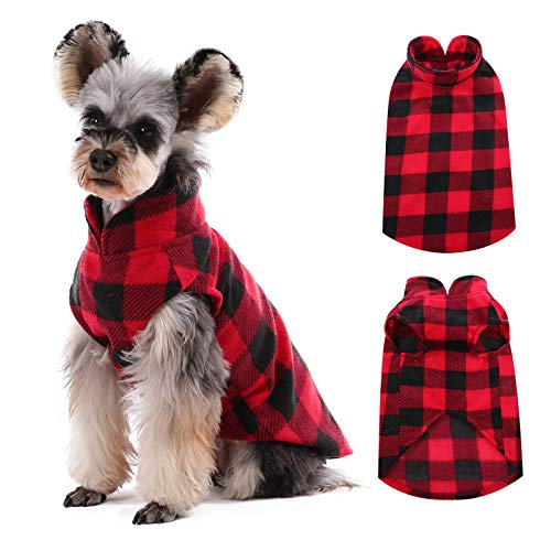 Kuoser Stretch Dog Fleece Vest, Soft Classic Plaid Basic Dog Sweater for Small Dogs & Cats, Warm Dogs Shirt Pullover Dog Coat Jacket Winter Dog Clothes for Teddy Chihuahua Yorkshire with Leash HOL