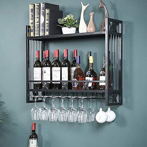 Estante de vino de hierro de estilo industrial retro LOFT de 3 niveles con soporte de vidrio Montado en la pared Estante de vajilla Estante de libros de flores Decoración Estante de almacenamiento