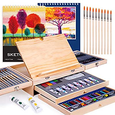 Paint Set,85 Piece Deluxe Wooden Art Set Crafts Drawing Painting Kit with Easel and 2 Drawing Pads, Creative Gift Box for Teens Adults Artist Beginners Kids Girls Boys,Art Kit,Art Supplies