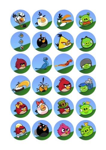 24 x Essbare Angry Birds Kuchen Topper (Tortenaufleger, Bedruckte Oblaten, Oblatenaufleger)
