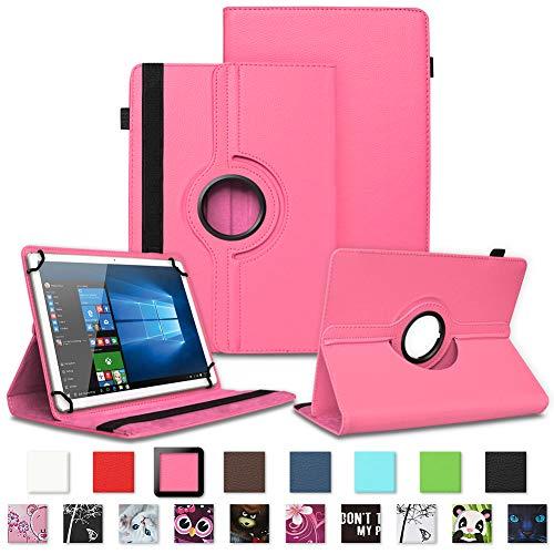 NAUC Schutzhülle kompatibel für Telekom Puls Tablet Tasche Tablettasche Hülle mit Standfunktion 360° drehbar Kunst-Leder Cover viele Universal Tablethülle Hülle, Farben:Pink