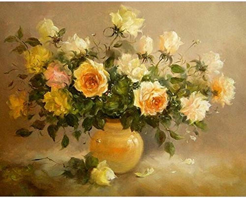 WDHZHKY Painting Frame Yellow Flowers Diy Kits Modern Wall Art Canvas For Living Room Home Decor