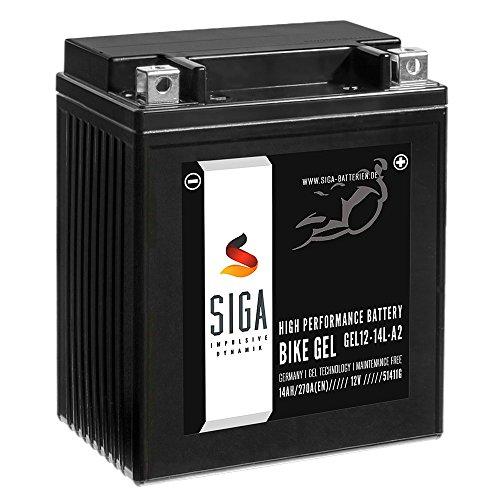 SIGA Gel Motorradbatterie 12V 14Ah 270A/EN Gel Batterie YB14L-A2 GEL12-14L-A2 CB14L-A2 12N14-3A 51411