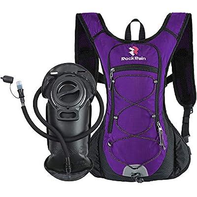 ROCKRAIN Windrunner Lightweight Hydration Pack with 2L BPA Free Water Bladder - Outdoor Sports Gear for Running, Cycling, Hiking, Biking, Camping (Dark Purple)