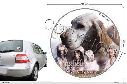 Autocollant chien circulaire 10 Cm Setter-Anglais