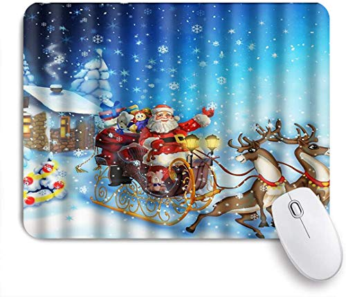 CIKYOWAY Mouse Pad,Winter Holiday Merry Christmas Deer Pull The Santa Claus Snowflakes Beautiful Gifts,Customized Mousepad Non-Slip Rubber Gaming Mouse Pad Rectangle Mouse Pads for Computers Laptop