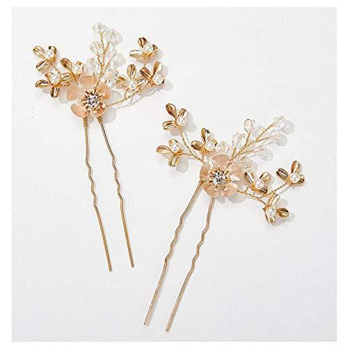 SWEETV 2 Stück Braut Haarnadeln Strass Hochzeit Haarschmuck Rose Gold Haarteile für Frauen Hochzeit