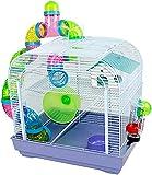 DZL Jaula para Hamster(39.5X29.5X38CM) Color Azul/Purpura/Rojo se Entrega al Azar,Aviso Importante: el metacrilato Lleva un Protector de Papel Que se Quita!