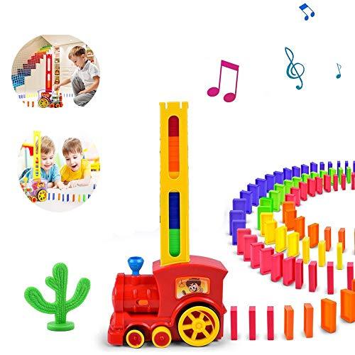 ALOP Elektrischer Domino blockiert Zug, Domino-Bunker-Automaten BAU- und Stapelspiel für pädagogische Modellbausteine für 3-7-jährige Kinder (rot)