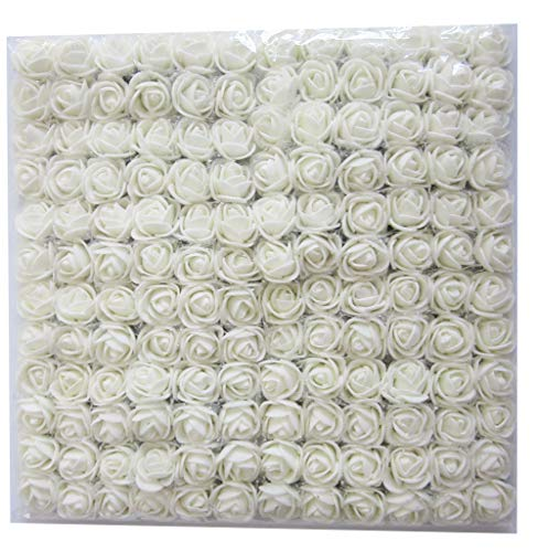 Artfen Mini Fake Rose Flower Heads 144pcs Mini Artificial Roses DIY Wedding Flowers Accessories Make Bridal Hair Clips Headbands Dress (Bottom add Gauze) Milk White