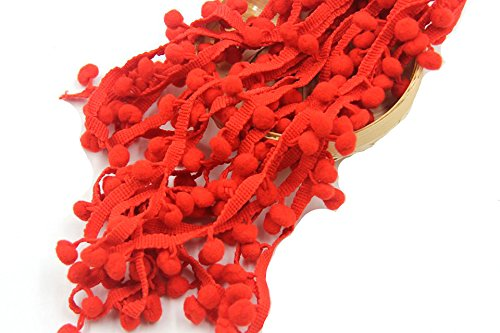 Yalulu 10Yards Pom Pom Trim Ball Fringe Ribbon DIY Sewing Accessory Lace for Home Party Decoration (Red)