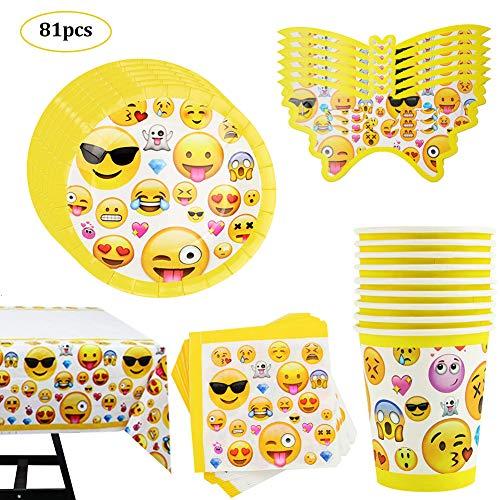 81 Piezas Fiesta de Cumpleaños Set de Emoji Vajilla Desechable Amarillo para 20 niños Decoracion de Fiesta Emoji Vasos Mantel Platos Servilletas Copa Mantel Vajilla de cumpleaños Infantil Decoraciones