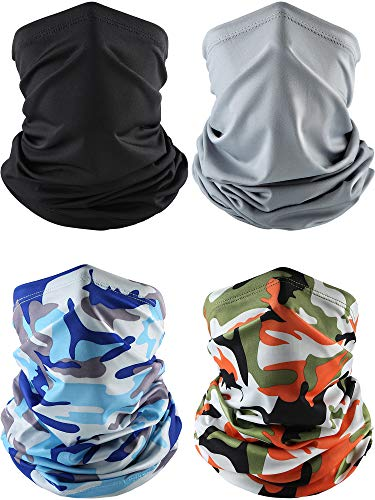 Norme 4 Pieces Summer Face Cover Neck Gaiter Cooling Sunblock Face Scarf (Black, Grey, Camo Sky Blue, Camo Orange), 42 x 24 cm