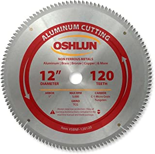 Oshlun SBNF-120120 12-Inch 120 Tooth TCG Saw Blade with 1-Inch Arbor for Aluminum and Non..