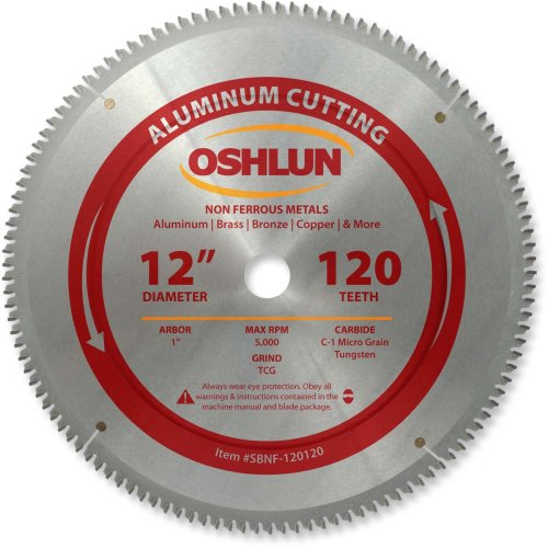 Oshlun SBNF-120120 12-Inch 120 Tooth TCG Saw Blade with 1-Inch Arbor for Aluminum and Non Ferrous Metals Carbide Cutting Saw Blade
