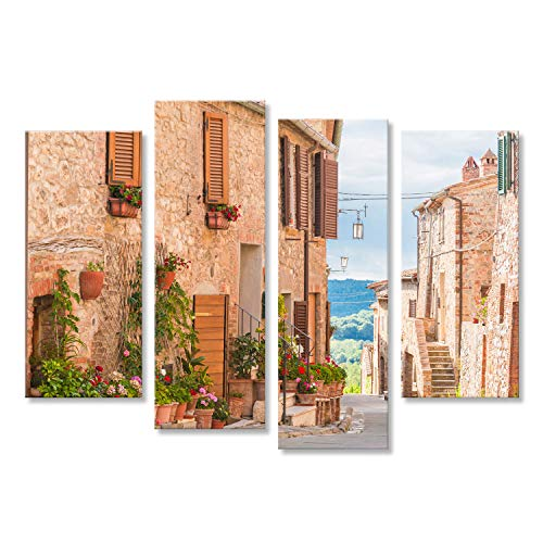 bilderfelix® Bild auf Leinwand Die mittelalterliche alte Stadt in Toskana, Italien Wandbild, Poster, Leinwandbild GUH