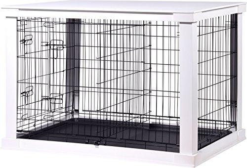 dobar 35242 Großer Hundekäfig aus Holz mit Tischoberfläche für innen, Hundebox Indoor, L, weiß