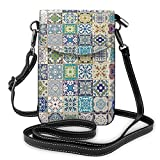 QQIAEJIA Bolso bandolera pequeño Monedero para teléfono celular Cartera con diseño de patchwork floral Bolso para pasaporte de viaje Bolsos para mujer