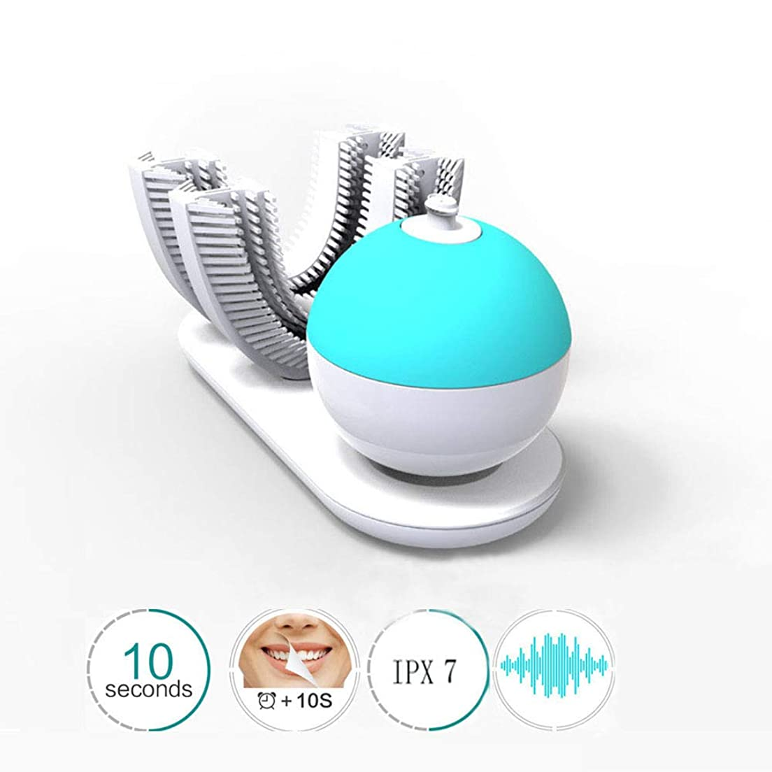 付録フォーカス産地電動歯ブラシ、U字型インテリジェントソニックケア、ワイヤレス充電式防水360°自動電動歯ブラシ
